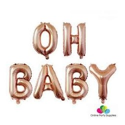 Oh Baby - Balloon Bunting (Rose Gold)