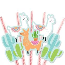 Llama and Cactus Paper Straws (Pack Of 5)