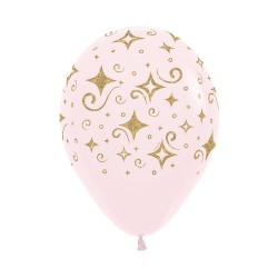 Gold Diamond on Pink latex Balloon