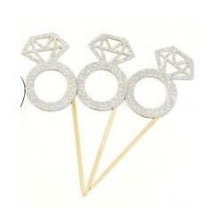 Silver Diamond Bride to Be cupcake toppers