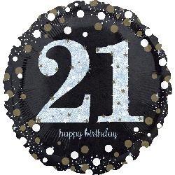 """18"""" Holo Sparkling Bithday 21"""