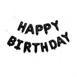 Happy Birthday foil balloon Bunting- Black