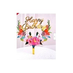 Happy Birthday Floral acrylic Cake Topper