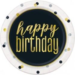 "Metallic Happy Birthday 9"" Lunch Plates (8/pk)"