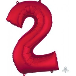 Red Number 2 Supershape Foil Balloon