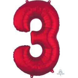 Red Number 3 Supershape Foil Balloon