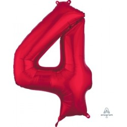 Red Number 4 Supershape Foil Balloon