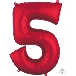 Red Number 5 Supershape Foil Balloon