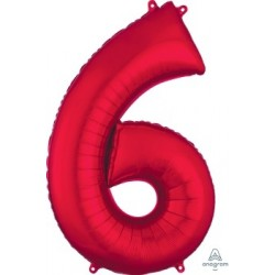Red Number 6 Supershape Foil Balloon