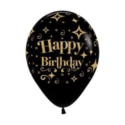 "12"" Happy Birthday Birthday on Black Latex Balloon"