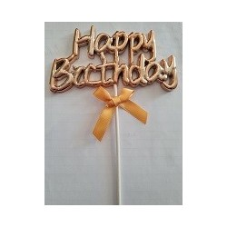 Rose Gold Happy Birthday Cake Topper with ribbon