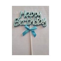 Blue Happy Birthday Cake Topper with ribbon