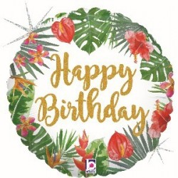 "18"" Tropical Happy Birthday Foil Balloon"