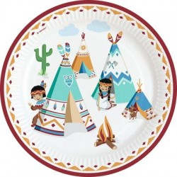 Tepee and Tomahawk western paper plates | Western Party Supplies