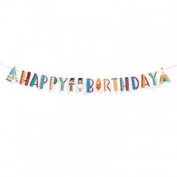 Tepee and Tomahawk western Happy Birthday Banner| Western Party Supplies