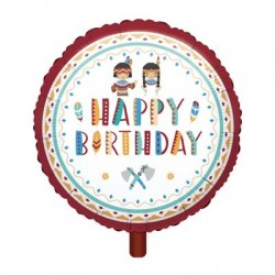 Tepee and Tomahawk western Happy Birthday foil balloon| Western Party Supplies