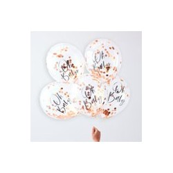 Rose Gold Oh Baby Confetti Balloons (pk/6)