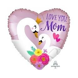 "18"" Love You Mom swan foil balloon"