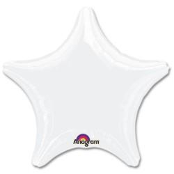 "18"" Opaque White Star Foil Balloon"