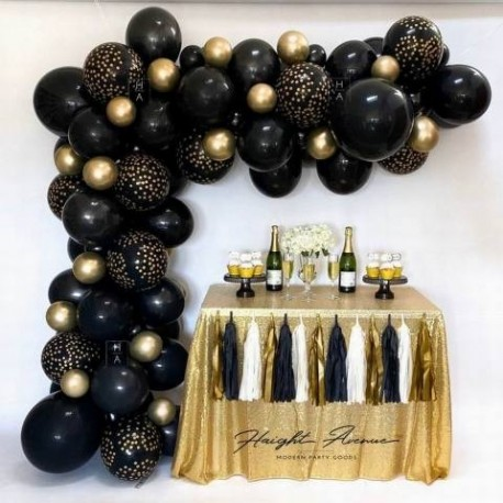 Black and Gold Balloon Garland Kit