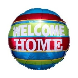 """18"""" Welcome Home Colourful Strips Foil Balloon"""