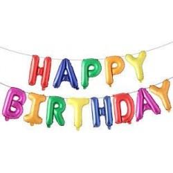 Happy Birthday foil balloon Bunting- Multi Colour