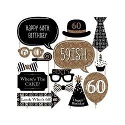 Cheers to 60 Birthday Photo Props (20 pcs)